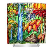 Red Jungle. Alien Planet Shower Curtain