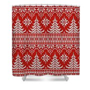Red Knitted Winter Sweater Shower Curtain