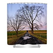 Red Lane With Purple Sky Shower Curtain