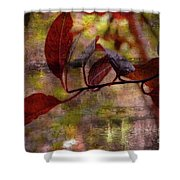 Red Leaves Painted Effect Shower Curtain