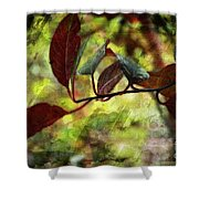 Red Leaves With Texture Shower Curtain