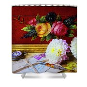 Red Letter Box And Dahlias Shower Curtain