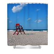 Red Life Guard Chair Shower Curtain