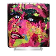 Red Light Offer, Palette Knife Painting Shower Curtain