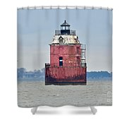 Red Lighthouse At The Sandy Point State Park Shower Curtain