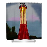 Red Lighthouse Shower Curtain