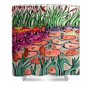 Red Lillies 2 Shower Curtain