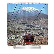 Red Line Cable Car Cabin And Mt Illimani Bolivia Shower Curtain