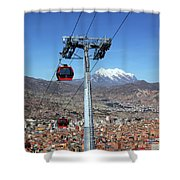 Red Line Cable Cars And Mt Illimani La Paz Bolivia Shower Curtain