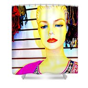 Red Lips And Sequins Shower Curtain
