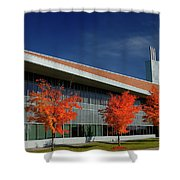 Red Maple Trees And Modern Architecture Of Seneca College York U Shower Curtain