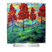 Red Maples On Green Hills With Name And Title Shower Curtain