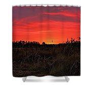 Red Marsh Sunrise Shower Curtain
