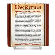 Red Matted Floral Scroll Desiderata Poem Shower Curtain