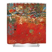 Red Meander Shower Curtain