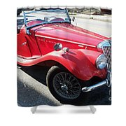 Red Mg Antique Car Shower Curtain