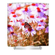 Red Monarch Shower Curtain