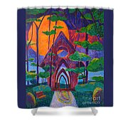 Red Moon Over Bella Vista Shower Curtain