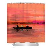 Red Morning Spin Shower Curtain