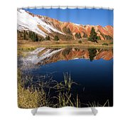 Red Mountain Reflection Shower Curtain