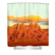 Red Mountain Sunset Organs Shower Curtain