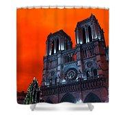 Red Notre Dame Pop Art Shower Curtain