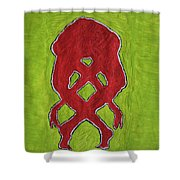 Nude Yoga Girl Red Shower Curtain