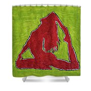 Red Nude Yoga Girl Shower Curtain
