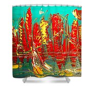Red Nyc Shower Curtain