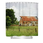 Red Oak Barn Shower Curtain