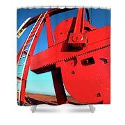 Red Oil Well Pump Oilfield Shower Curtain
