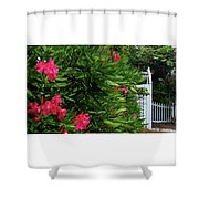 Red Oleander Arbor Shower Curtain
