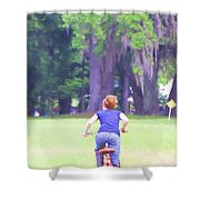Red On Her Bike Shower Curtain