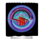 Red On Violet Shower Curtain