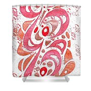 Red Orchid Cluster  Shower Curtain