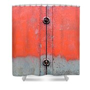Red Over Grey Shower Curtain