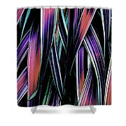 Red Palm Fronds Shower Curtain