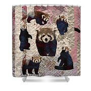 Red Panda Abstract Mixed Media Digital Art Collage Shower Curtain