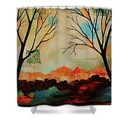 Red Tree Path Shower Curtain
