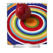 Red Pear On Circle Plate Shower Curtain