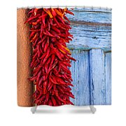 Red Peppers And Blue Door Shower Curtain