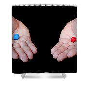 Red Pill Blue Pill Shower Curtain by Semmick Photo