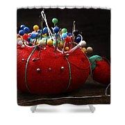Red Pin Cushion Shower Curtain
