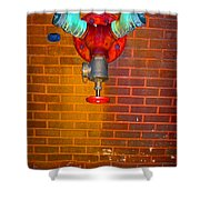 Red Pipe Shower Curtain