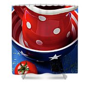 Red Pitcher And Tomato Shower Curtain