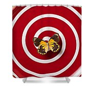 Red Plate And Yellow Black Butterfly Shower Curtain