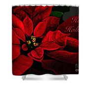 Red Poinsettia Happy Holidays Card Shower Curtain