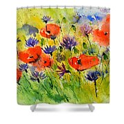Red Poppies And Cornflowers Shower Curtain