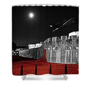 Red Poppies At Tower Of London With Spitfire Flypast Shower Curtain