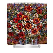 Red Poppies Bouquet Shower Curtain